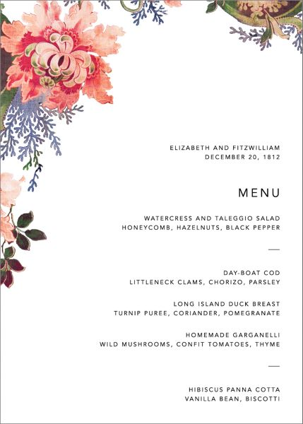 Rose Floral Ikat Menu