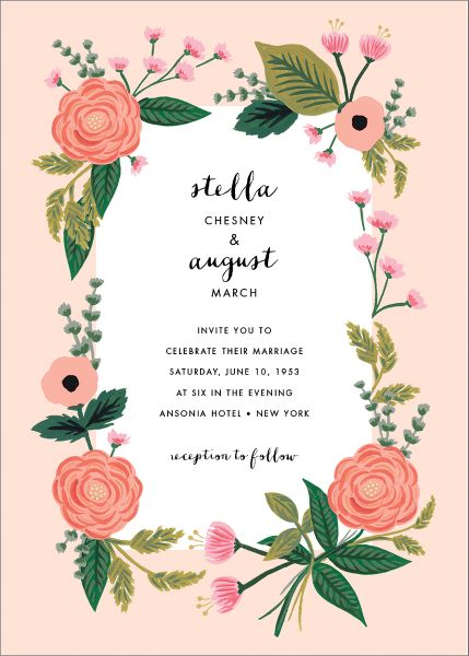 September Herbarium Wedding Invitation