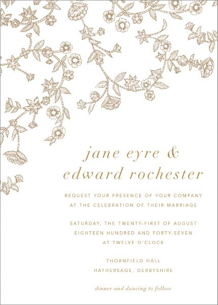 Stitched Floral I Wedding Invitation