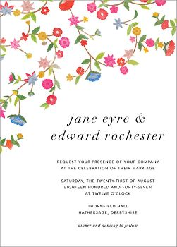 Stitched Floral II Wedding Invitation