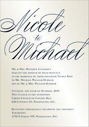Calligraphy Quartz Shimmer Wedding Invitation