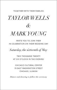 Tall Contemporary Wedding Invitation
