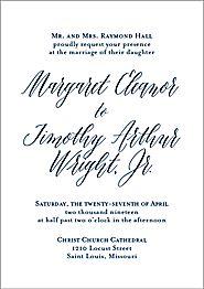 Engraved Script Wedding Invitation