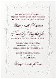 Embossed Vines Wedding Invitation