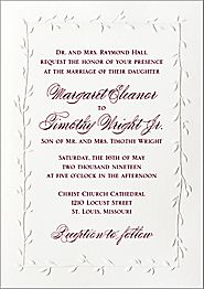Embossed Vines Wedding Invitation