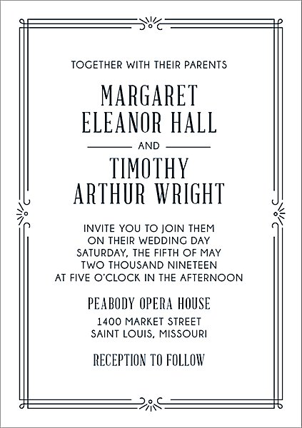 Art Deco Wedding Invitations.Deco Wedding Invitation
