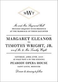 Diamond Monogram Wedding Invitation