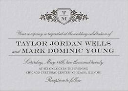 Vintage Crest Wedding Invitation