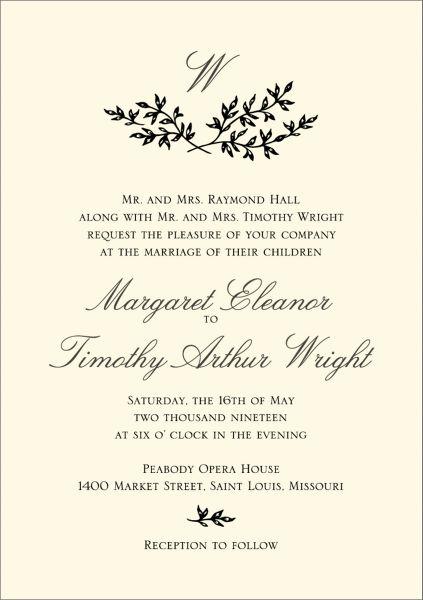 Bough Monogram Wedding Invitation