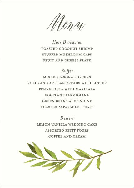 Green Garland Menu