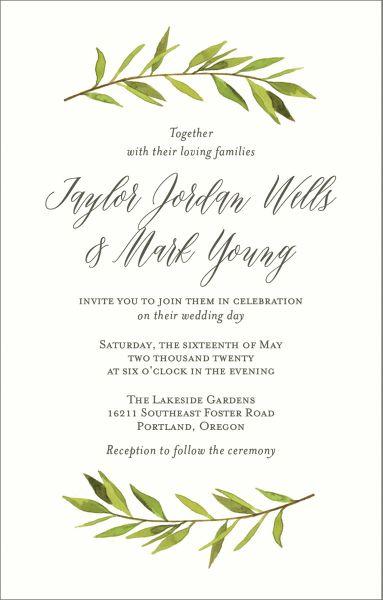 Tall Green Garland Wedding Invitation
