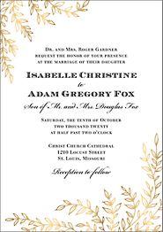 Foil Leaves Wedding Invitation