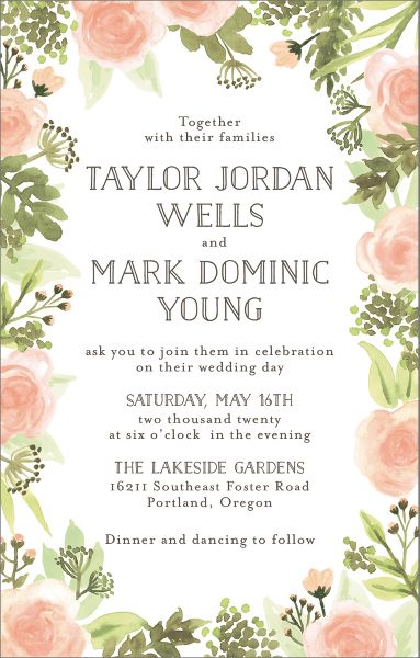 Tall Painted Floral Wedding Invitation