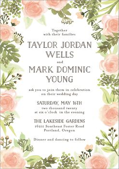 Painted Floral Wedding Invitation