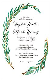 Tall Olive Branch Wedding Invitation
