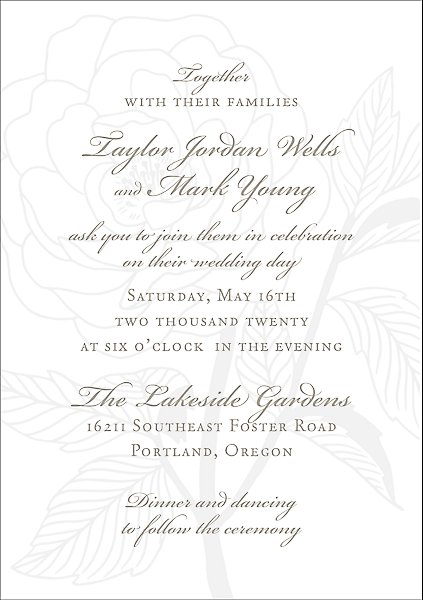 Rose Letterpress Wedding Invitation