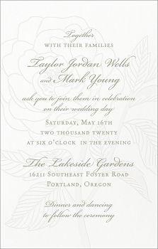 Tall Rose Letterpress Wedding Invitation