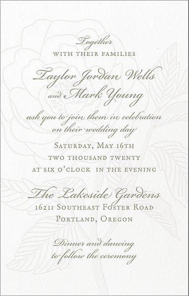 Letterpress Wedding Invitations.Tall Rose Letterpress Wedding Invitation