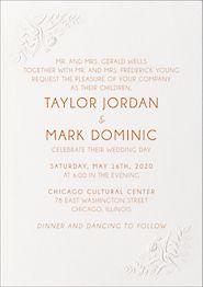 Embossed Floral Wedding Invitation