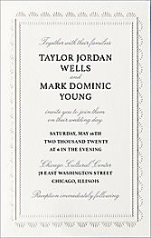 Tall Scalloped Frame Wedding Invitation