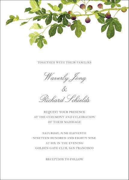 Fig Branches Wedding Invitation