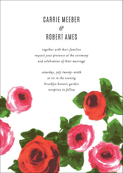 Rose Bed Wedding Invitation