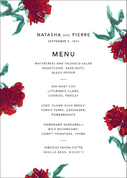 Pop Carnation Menu