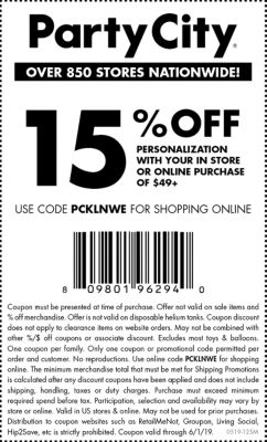 printable coupon codes for party city