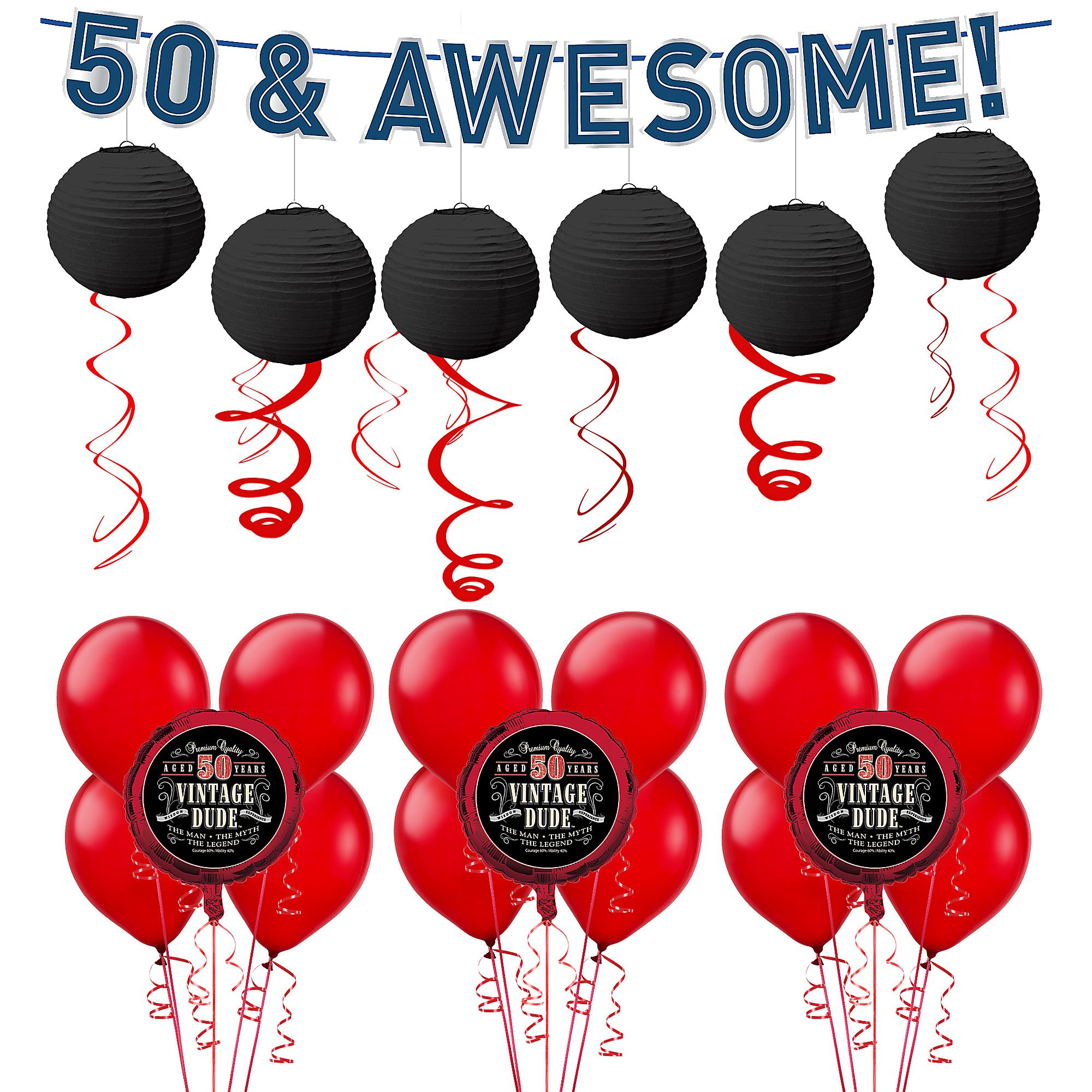 Vintage Dude 50th Birthday Decorating Kit With Balloons 37 Pieces