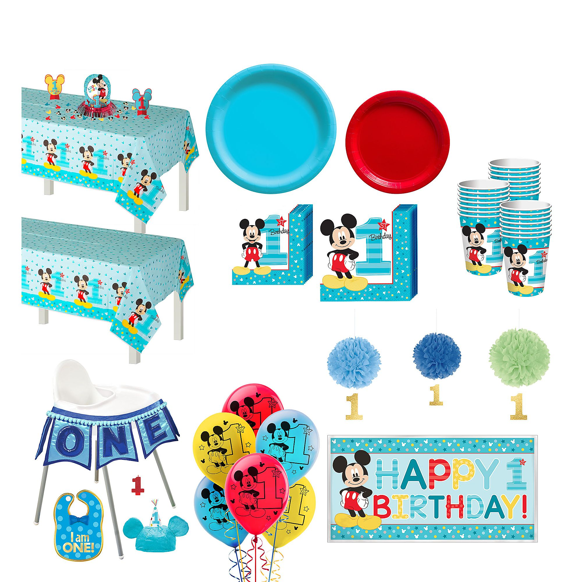 1st Birthday Mickey Mouse Deluxe Party Kit For 32 Guests With Decorating Kits