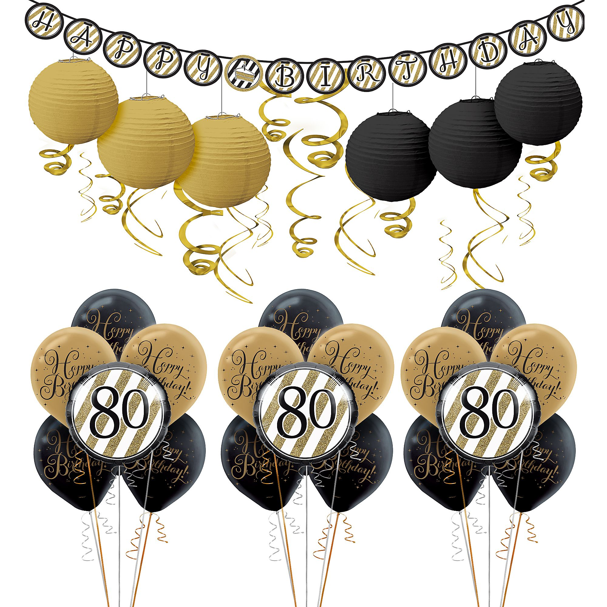 White And Gold 80th Birthday Decorating Kit With Balloons 42 Pieces