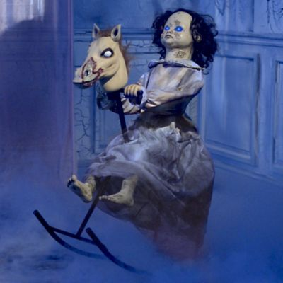 Animated Scary Rocking Horse Girl Halloween Decorations ...