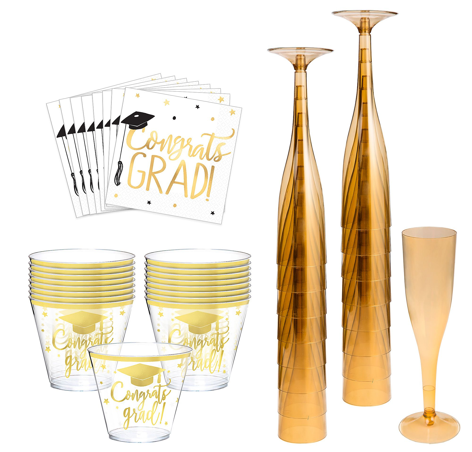 Metallic-Gold-The-Adventure-Begins-Graduation-Cocktail-Party-Kit-for-16-Guests