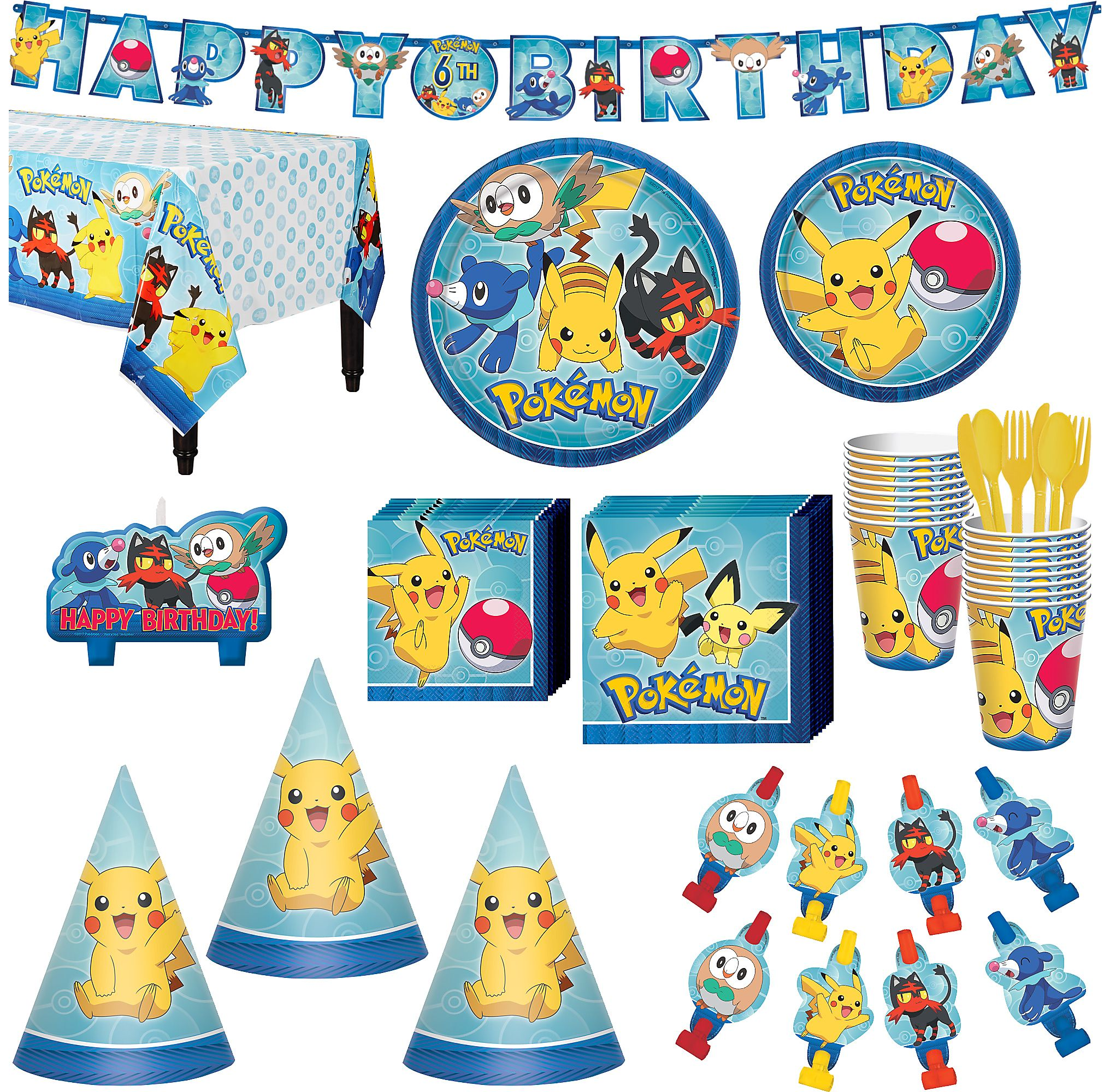 Pokemon Core Birthday Party Kit Banner Candles Hats Serves 16