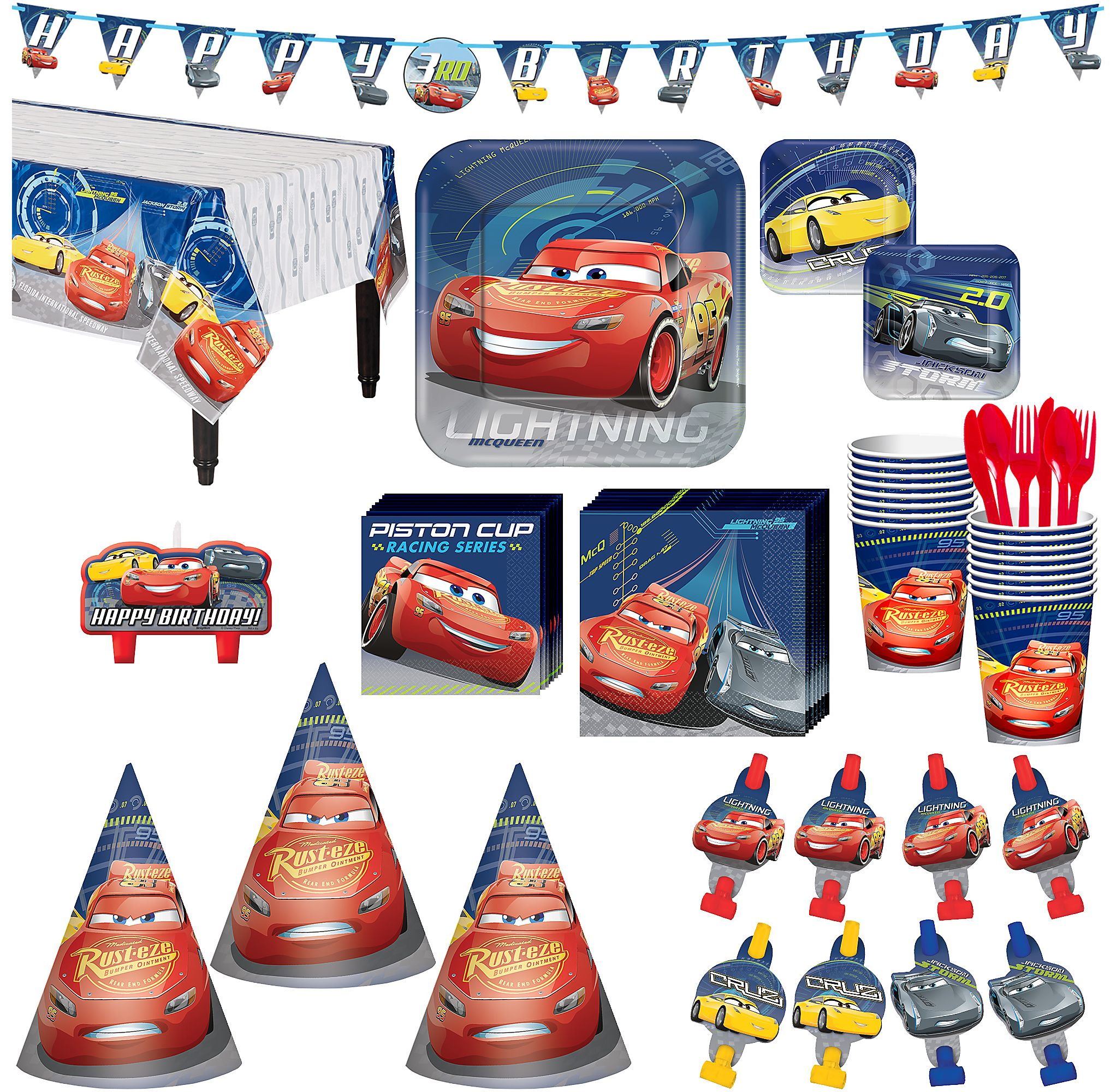 Cars 3 Birthday Party Kit Includes Happy Banner Candles And Hats Serves 16 By City