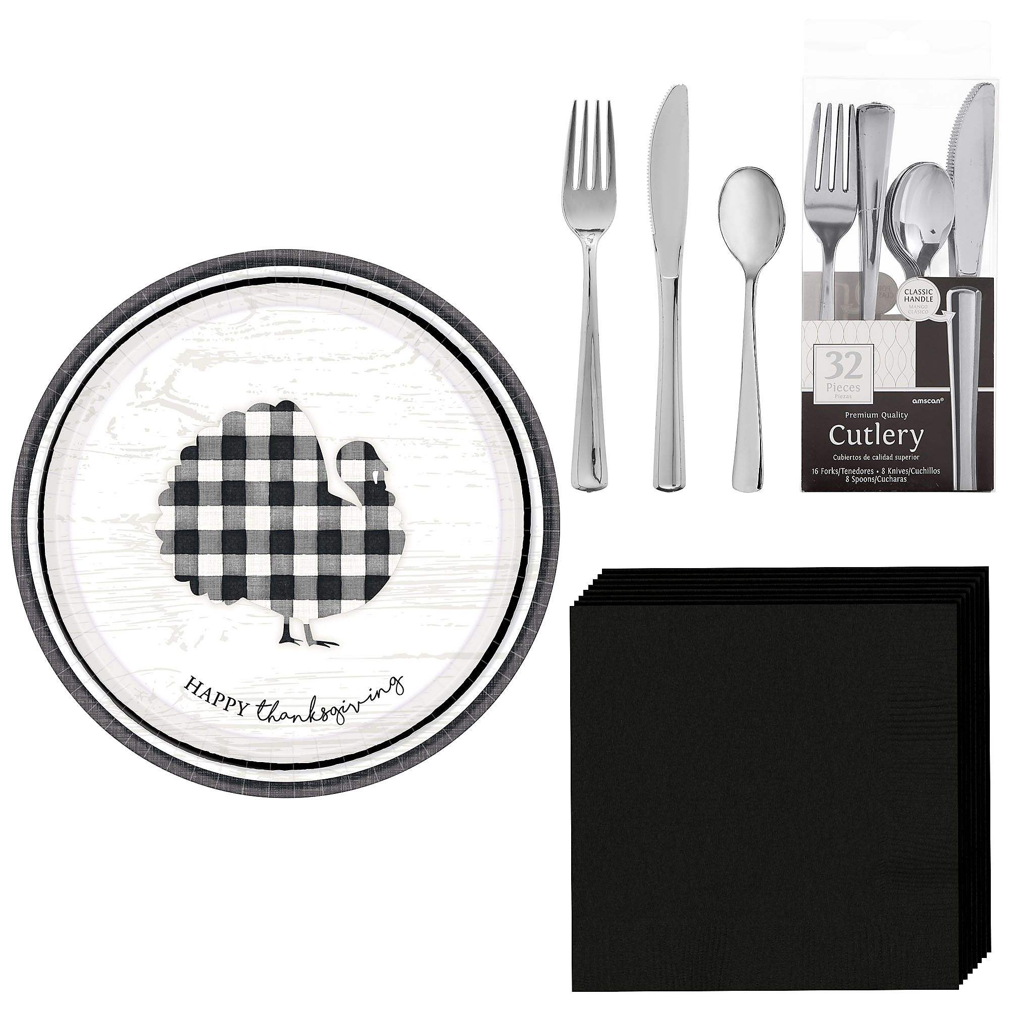 Black And White Check Tableware Kit 16 Guests Plates Napkins