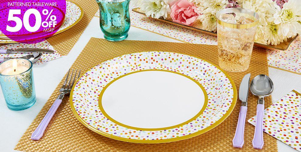 Rainbow Confetti Tableware