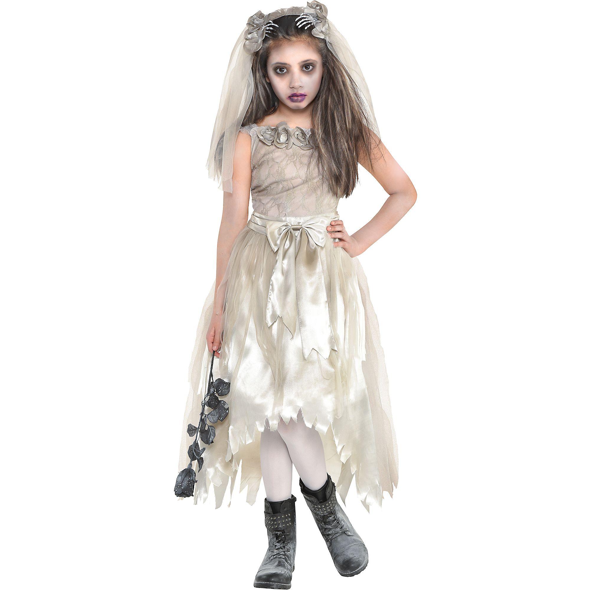 Zombie Bride Dress Halloween Costume For Girls, Extra