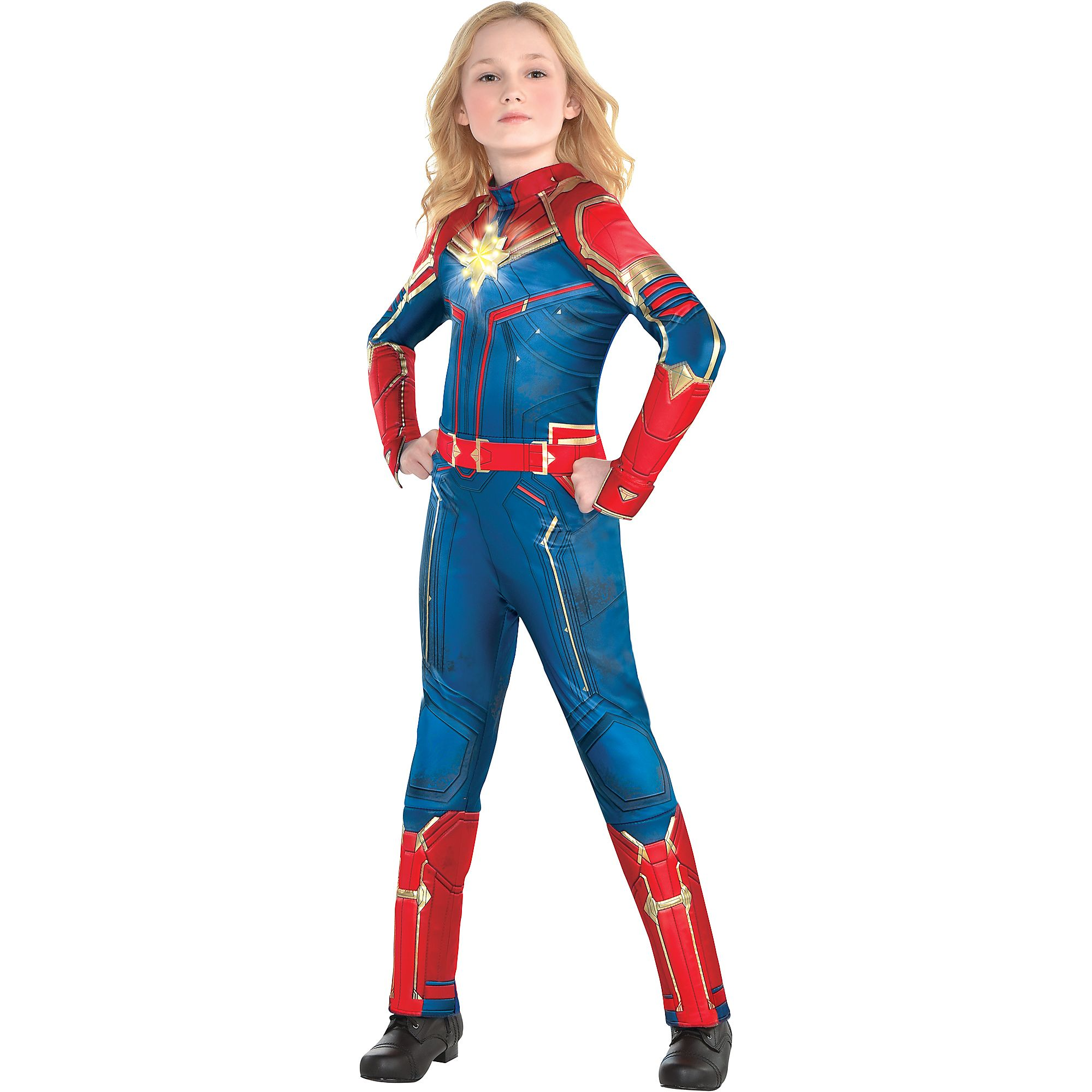 Halloween Costumes For Girls.Details About Girls Light Up Captain Marvel Halloween Costume Size Large Jumpsuit Superhero