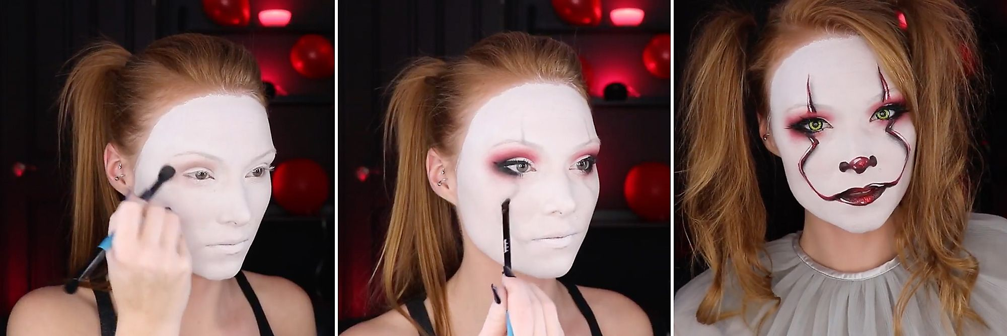 Video This Pennywise Makeup Tutorial Creeps With Chic Party City