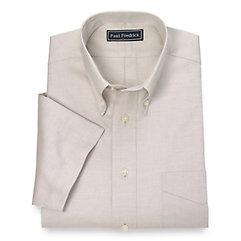 1930s Style Mens Shirts Cotton Pinpoint Oxford Button Down Collar Short Sleeve Dress Shirt $30.00 AT vintagedancer.com