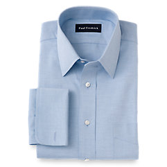 1940s Style Mens Shirts 2-Ply Cotton Pinpoint Oxford Straight Collar French Cuff Trim Fit Dress Shirt $70.00 AT vintagedancer.com
