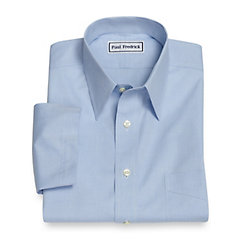 1950s Style Mens Shirts Slim Fit Non-Iron Cotton Pinpoint Straight Collar Short Sleeve Dress Shirt $40.00 AT vintagedancer.com