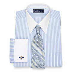 Edwardian Men's Shirts & Sweaters Cotton End-On-End Stripe Dress Shirt $80.00 AT vintagedancer.com