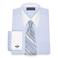 Edwardian Men's Shirts & Sweaters Cotton End-On-End Stripe Dress Shirt $60.00 AT vintagedancer.com