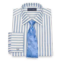 1940s Style Mens Shirts Cotton Stripe Dress Shirt $60.00 AT vintagedancer.com