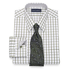 1950s Style Mens Shirts Cotton Windowpane Dress Shirt $80.00 AT vintagedancer.com
