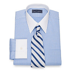 1920s Style Mens Shirts Cotton Check Dress Shirt $80.00 AT vintagedancer.com