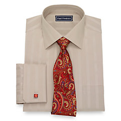 1930s Style Mens Shirts Cotton Stripe Dress Shirt $80.00 AT vintagedancer.com