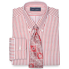 Men's Vintage Style Shirts 2-Ply Cotton Pinpoint Rope Stripe Button Down Collar Dress Shirt $17.00 AT vintagedancer.com